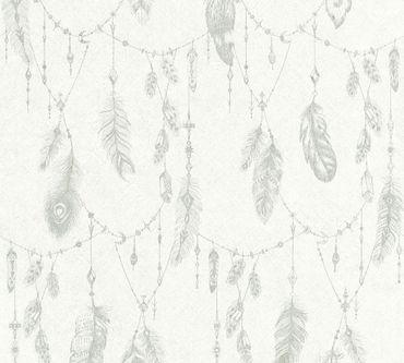 Carta da parati - A.S. Création Boho Love in Grigio Bianco Crema
