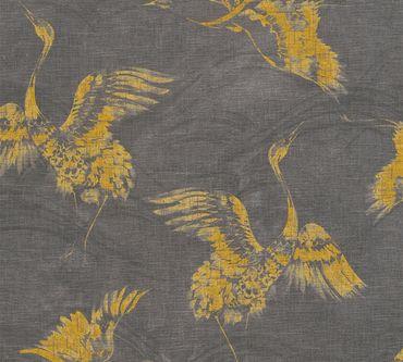 Carta da parati - A.S. Création Linen Style in Giallo Grigio Nero