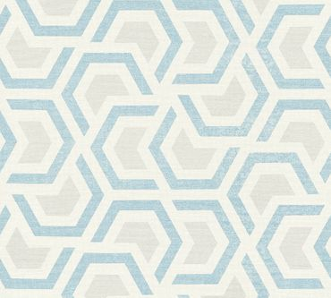Carta da parati - A.S. Création Linen Style in Beige Blu Grigio