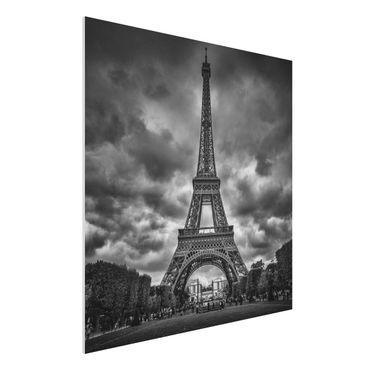 Quadro in forex - Torre Eiffel Davanti Nubi In Bianco e nero - Quadrato 1:1