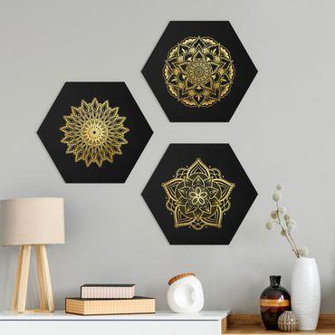 Esagono in forex - Mandala Fiore Sun Illustrazione set oro nero