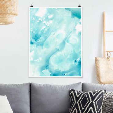 Poster - Emulsione Bianco e Turchese I - Verticale 4:3