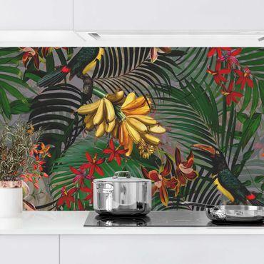 Rivestimento cucina - Tropical Felci Con Tucan Verde