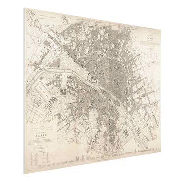 Stampa su Forex - Vintage mappa di Parigi - Orizzontale 3:4