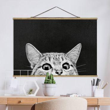 Foto su tessuto da parete con bastone - Laura Graves - Illustrazione Gatto Bianco e nero Disegno - Orizzontale 2:3