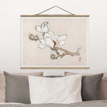 Foto su tessuto da parete con bastone - Asian Vintage Disegno White Magnolia - Orizzontale 3:4