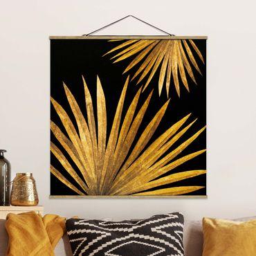 Foto su tessuto da parete con bastone - Gold - Palm Leaf On Black - Quadrato 1:1