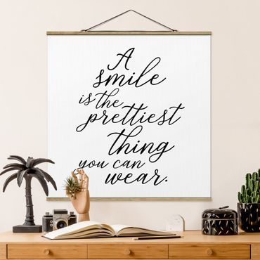 Quadro su tessuto con stecche per poster - Un sorriso è la più bella cosa - Quadrato 1:1