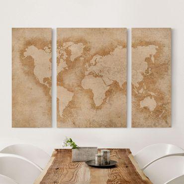 Stampa su tela 3 parti - Antique World Map - Trittico