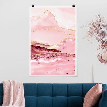 Poster - Estratto Monti rosa con Golden Lines - Verticale 3:2
