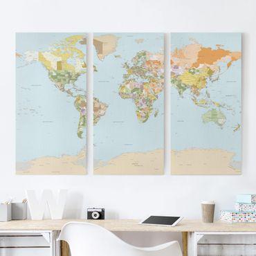 Stampa su tela 3 parti - Political World Map - Verticale 2:1