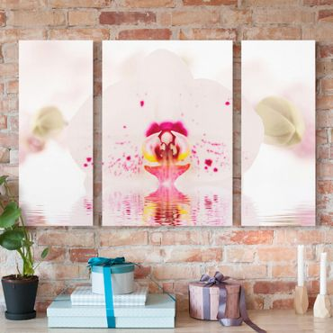 Stampa su tela 3 parti - Dotted Orchid On Water - Trittico