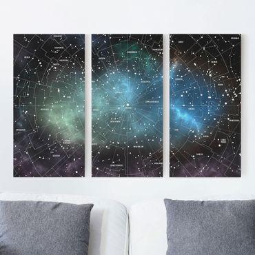 Stampa su tela 3 parti - Constellations map Galaxy fog - Verticale 2:1