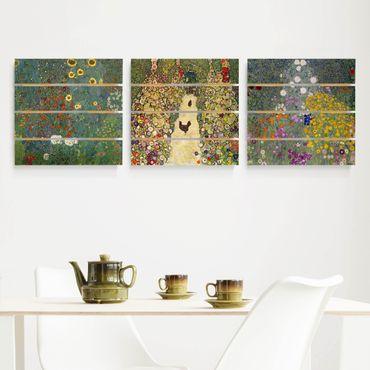 Quadro in legno effetto pallet - Gustav Klimt - In The Garden - Quadrato 1:1