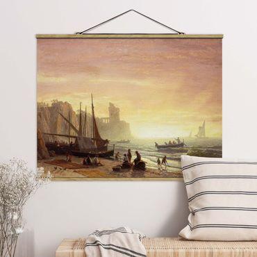 Foto su tessuto da parete con bastone - Albert Bierstadt - Fishing Fleet - Orizzontale 3:4