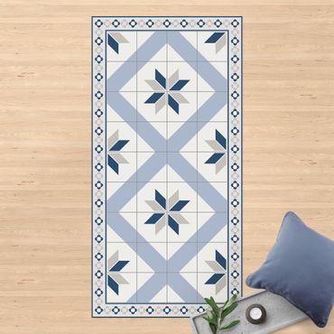 Tappeti in vinile - Piastrelle geometriche fiori rombici blu colomba con bordo sottile - Verticale 1:2