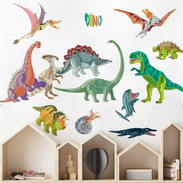 Adesivo murale - Dinosaur colorato Set
