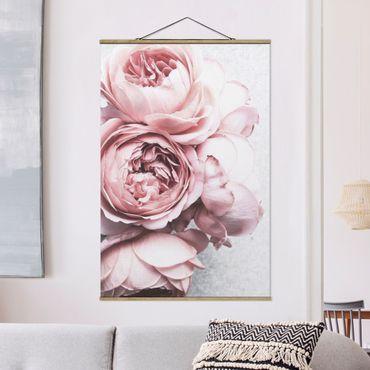 Foto su tessuto da parete con bastone - Pink Peony fiori pastello misera - Verticale 3:2
