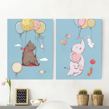Stampa su tela - Cute Animals Fly On Balloon - Verticale 4:3