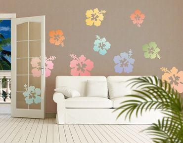 Adesivo murale no.547 Hibiscus Flowers In Pastells