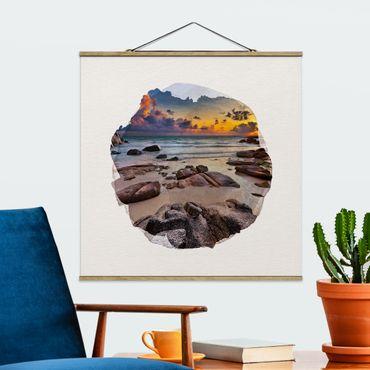 Foto su tessuto da parete con bastone - Acquarelli - Spiaggia Alba In Thailandia - Quadrato 1:1