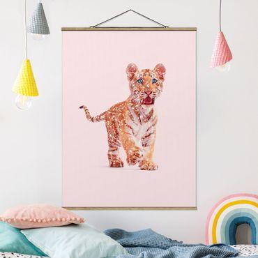 Foto su tessuto da parete con bastone - Tiger con glitter - Verticale 4:3