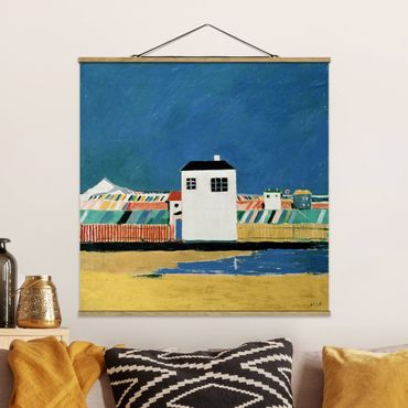 Foto su tessuto da parete con bastone - Kasimir Malevich - Con La Casa Bianca Paesaggio - Quadrato 1:1