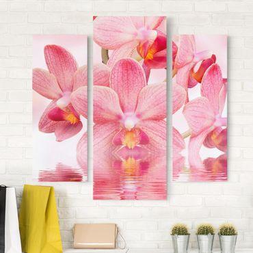 Stampa su tela 3 parti - Pink Orchids On Water - Trittico da galleria