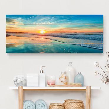 Stampa su legno - Romantico tramonto sul mare - Orizzontale 2:5