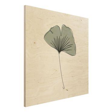 Stampa su legno - Gingko Leaf Line Art - Quadrato 1:1