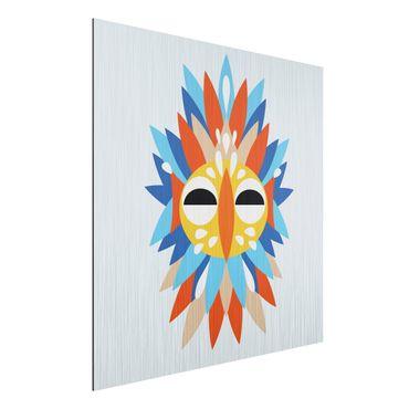 Stampa su alluminio spazzolato - Collage Mask Ethnic - Parrot - Quadrato 1:1