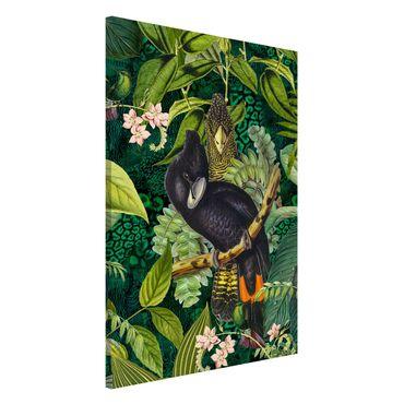 Lavagna magnetica - Colorato collage - Cacatua In The Jungle - Formato verticale 2:3