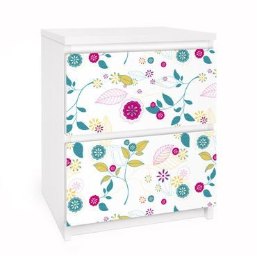Carta adesiva per mobili IKEA - Malm Cassettiera 2xCassetti - Flowers cocktail