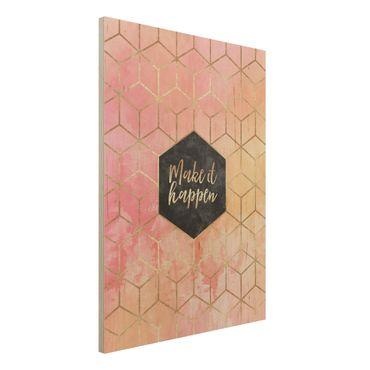 Stampa su legno - Make It Happen Geometria pastello - Verticale 4:3