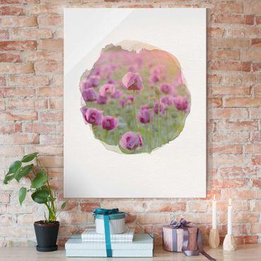 Quadro in vetro - Acquarelli - Viola di papavero fiori di prato in primavera - Verticale 4:3