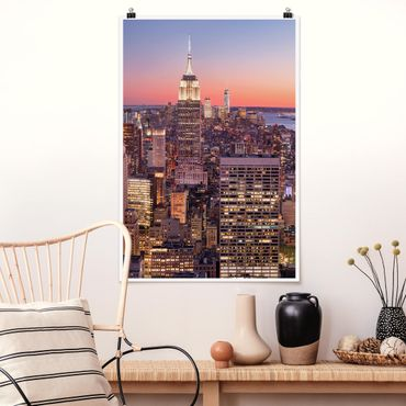 Poster - Tramonto di Manhattan New York City - Verticale 3:2