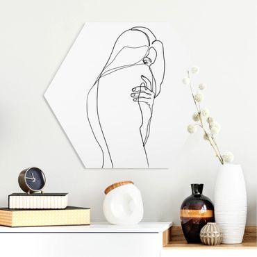 Esagono in forex - Line Art Nudo spalla Bianco e nero