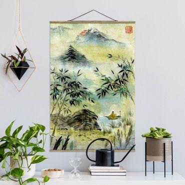 Foto su tessuto da parete con bastone - Giapponese disegno ad acquerello Bamboo Forest - Verticale 3:2