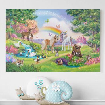 Stampa su tela - Foresta Incantata Con Unicorni - Orizzontale 3:2