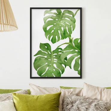 Poster con cornice - Monstera Watercolor - Verticale 4:3