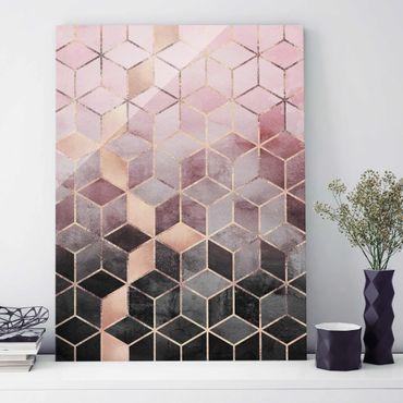 Quadro in vetro - Rosa Grigio d'oro Geometria - Verticale 4:3