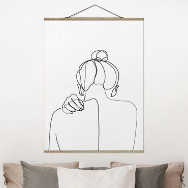 Foto su tessuto da parete con bastone - Line Art collo donna Bianco e nero - Verticale 4:3
