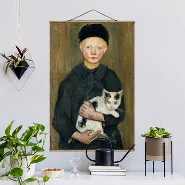 Foto su tessuto da parete con bastone - Paula Modersohn-Becker - Ragazzo con il gatto - Verticale 3:2