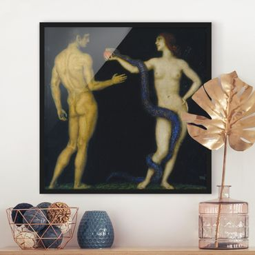 Poster con cornice - Franz Von Stuck - Adam And Eve - Quadrato 1:1