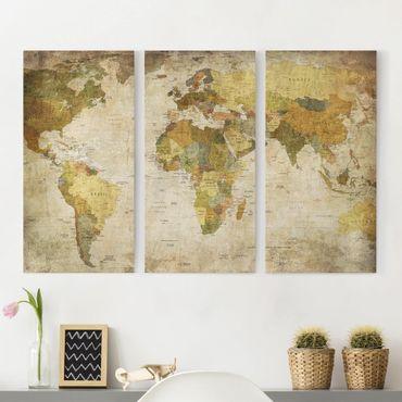 Stampa su tela 3 parti - map of the world - Verticale 2:1