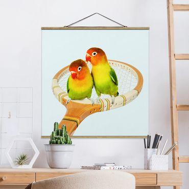 Foto su tessuto da parete con bastone - Tennis Con Uccelli - Quadrato 1:1
