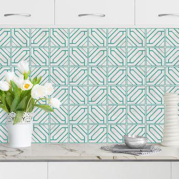 Rivestimento cucina - Motivo piastrelle rombi geometrici turchese