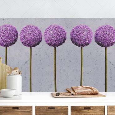 Rivestimento cucina - Fiori Allium su grigio I
