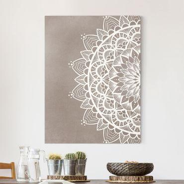 Stampa su tela - Mandala Illustrazione Shabby Bianco Beige - Verticale 4:3