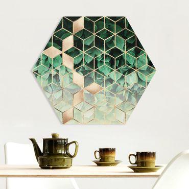 Esagono in forex - Verde Foglie d'oro Geometria